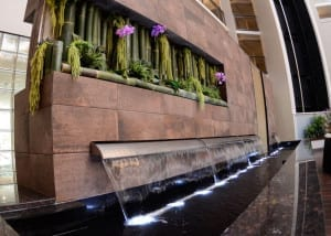 Reflection Pool with Free Falling Water Weirs at Embassy Suites Blue Ash Ohio