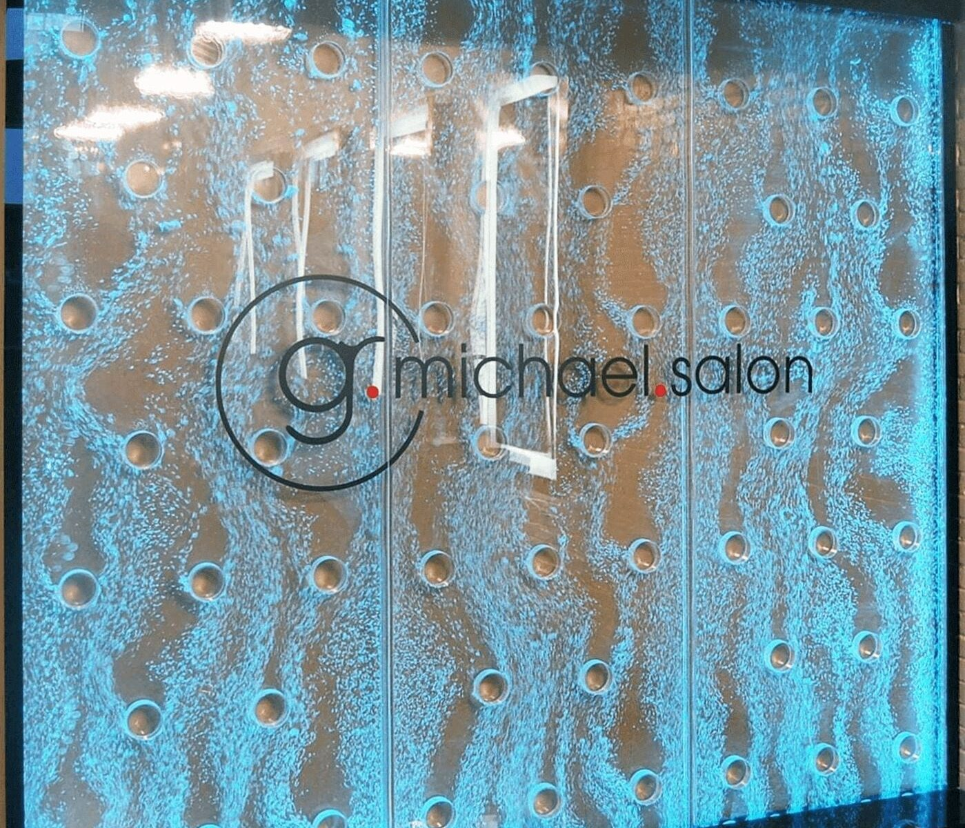 Bubble Wall Water Feature G Michael Salon IN enclosed water feature blue 1