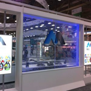 Bubble wall with logo at Kraft Tradeshow Booth Las Vegas with blue