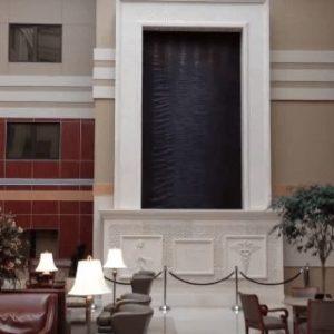 Custom Indoor Water Wall in Brown Copper Scored Finish