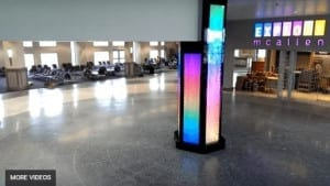 Custom Water Feature Column at McAllen Miller International Airport Bubble Walls