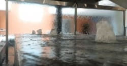 Glass Water Walls and Bubbler Jets in Water Feature Fountain
