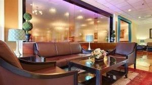 Glass Water Wall Frameless at Best Western Plus Grosvenor San Francisco Airport SFO California