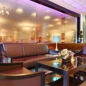 Glass Water Wall Frameless at Best Western Plus Grosvenor San Francisco Airport SFO California