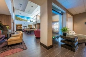 Glass and Stainless Water Wall at Hampton Inn  Suites Tempe Arizona