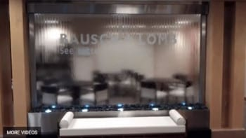Water Wall Glass Lobby Waterfall Bausch and Lomb in Rochester New York