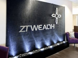 ZT Wealth Houston Texas   black acrylic water wall