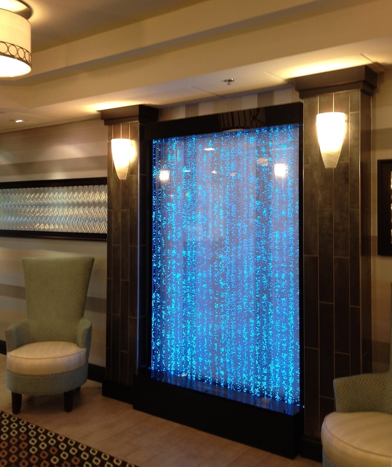 Bubble Wall Water Features in Hampton Inn Columbus OH bubble water wall